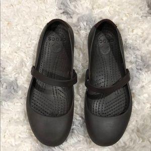 Brown Crocs Alice Mary Jane flats - non slip soles